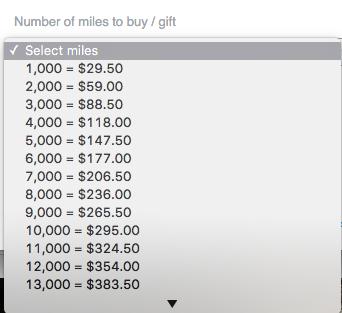 American Airlines Miles Verdienen - Select Number of Miles
