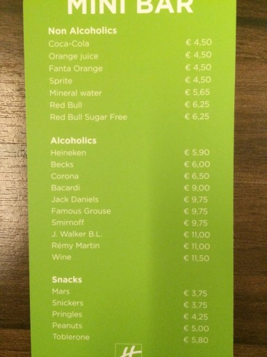 Holiday Inn Amsterdam - Minibar Prices