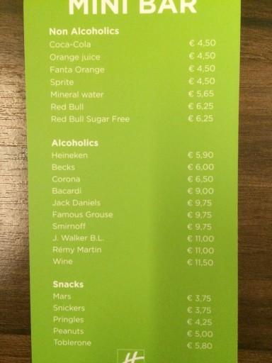 Holiday Inn Amsterdam - Minibar Prices