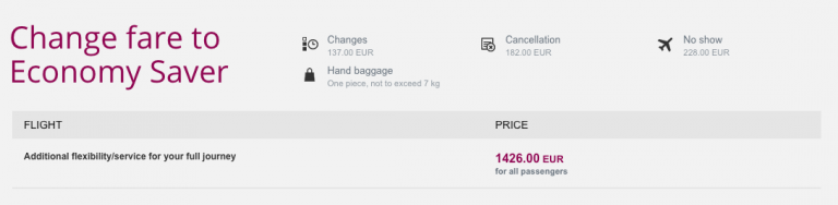 Qatar Airways Sales Maart 2016 - AMS-SYD Change Fare to Economy Saver