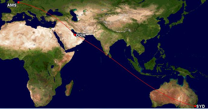 Qatar Airways Sales Maart 2016 - AMS-SYD GCMap