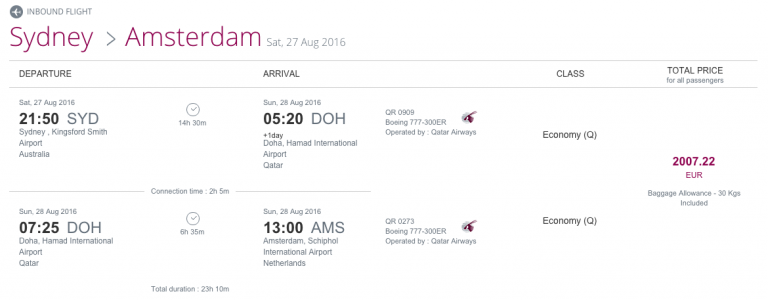 Qatar Airways Sales Maart 2016 - AMS-SYD Inbound Flight