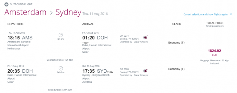 Qatar Airways Sales Maart 2016 - AMS-SYD Outbound Flight