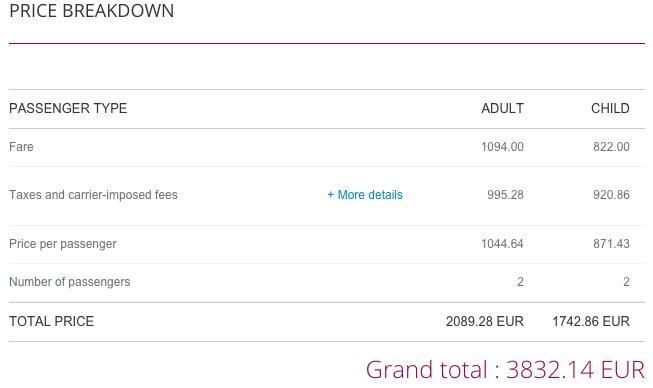 Qatar Airways Sales Maart 2016 - AMS-SYD Price Breakdown
