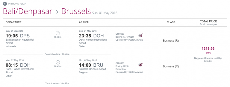 Qatar Airways Sales Maart 2016 - BRU-DPS Inbound Flight