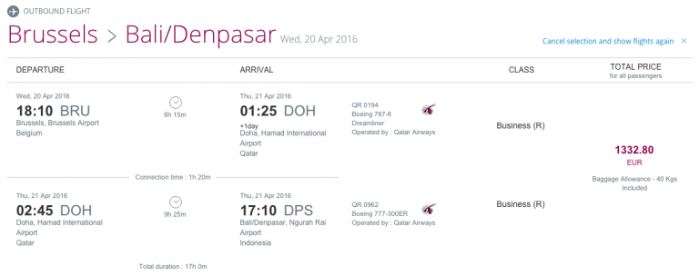 Qatar Airways Sales Maart 2016 - BRU-DPS Outbound Flight