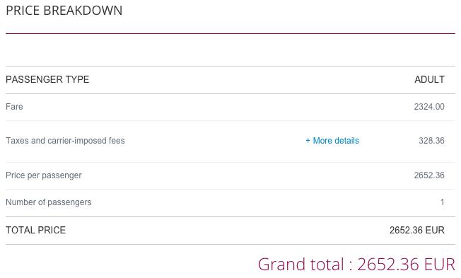 Qatar Airways Sales Maart 2016 - BRU-DPS Price Breakdown