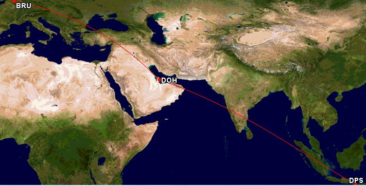 Qatar Airways Sales Maart 2016 - BRU-DSP GCMap