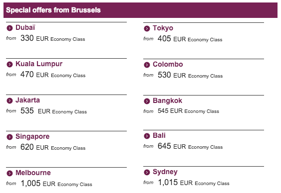Qatar Airways Sales Maart 2016 - Brussels Offers