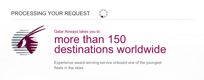 Qatar Airways Sales Maart 2016 - Processing your request