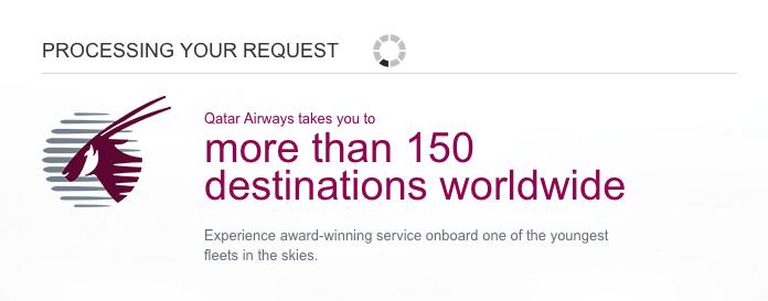 Qatar Airways Sales Maart 2016 - Processing your request