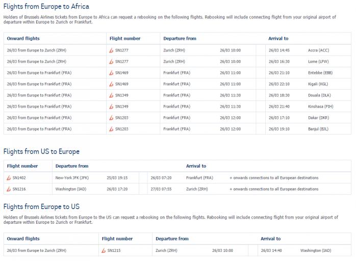 Op de website van Brussels Airlines een overzicht van intercontinentale vluchten
