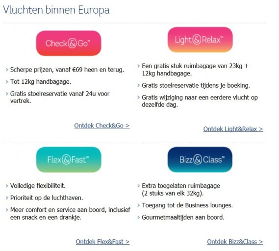 Brussels AIrlines tarieven