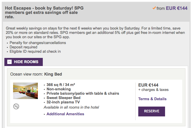SPG Hot Escapes Week 10 - Sheraton Fiji Room Rate