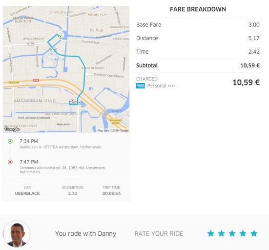 Uber Nederland - Ride History