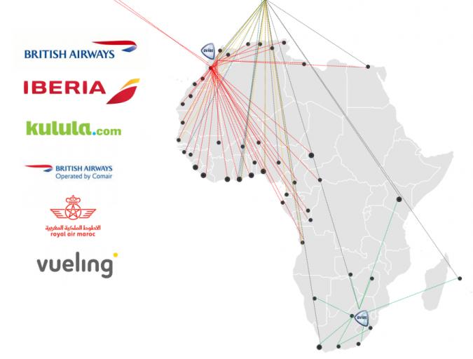 Afrikaanse bestemmingen met partner airlines