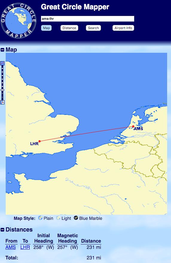 Van Amsterdam naar Londen is maar 231 miles