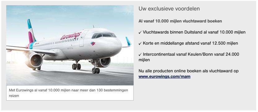 Miles and More gebruiken voor Eurowings vluchten