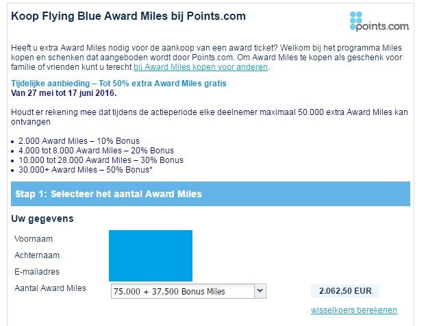 Flying Blue Miles 50% Korting