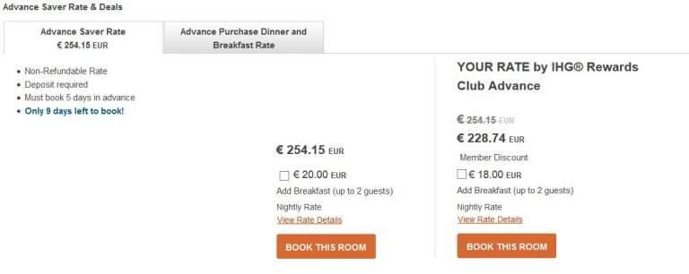 IHG Reward Rates