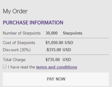 Starwood 30% Korting Promotie