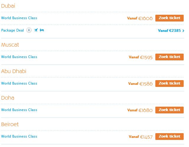 KLM Zomervoordeel World Business Class Midden-Oosten
