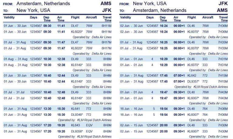 Skyteam timetable