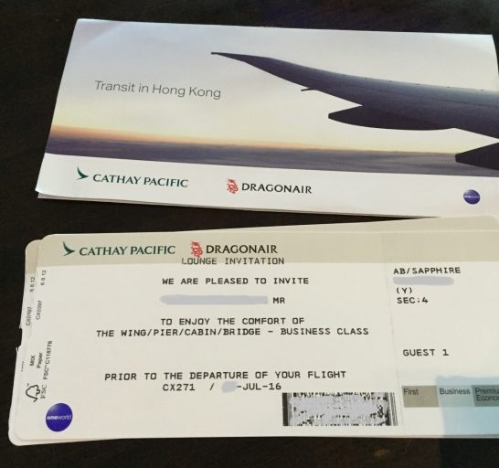 Cathay Pacific Lounge Invitation