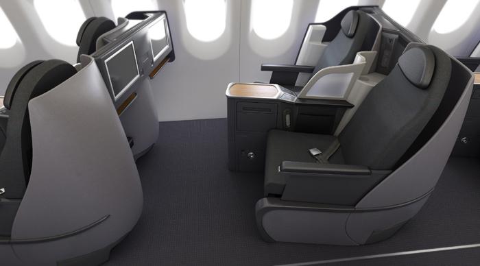 De lie flat stoelen op de A321 Transcon