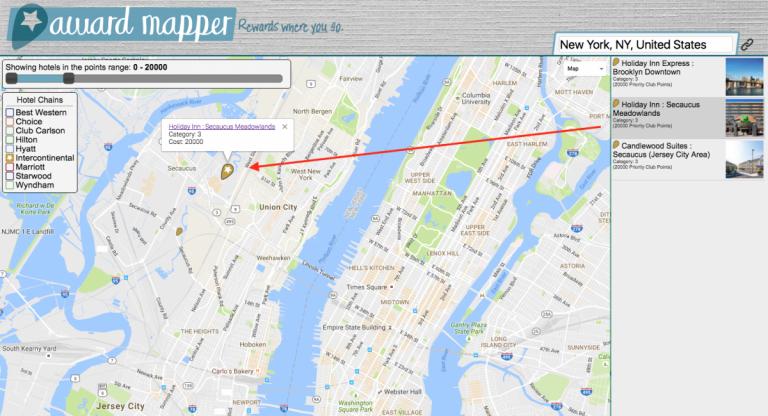 Awardmapper - NYC Manhattan IHG tot 20000 punten