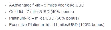 De tabel voor American vluchten
