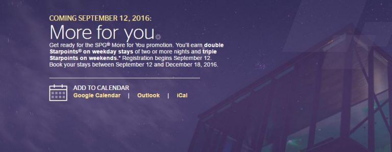 Starwood More For You Promotie