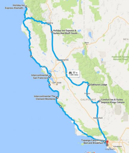 Onze route in Californië