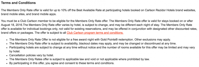 Club Carlson Members Only Rate