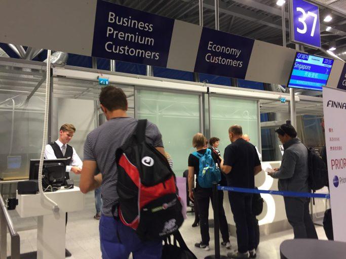 De gate voor mijn Finnair vlucht naar Singapore!