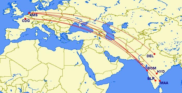Verwachte rechtstreekse verbindingen met Jet Aiways naar India