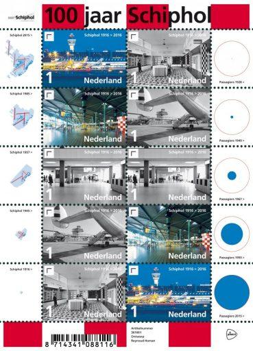 Postzegels 100 jaar Schiphol