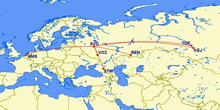 Nieuwe KLM codeshares in Rusland