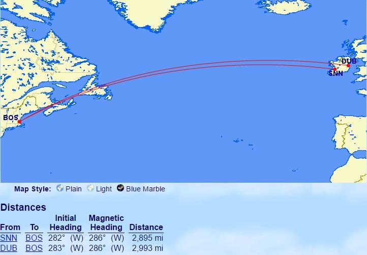 Van Dublin of Shannon naar Boston: net onder de 3000 mijlen!