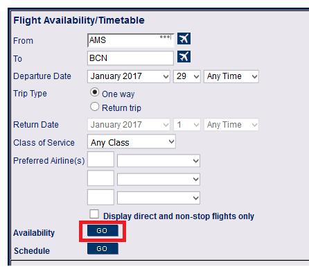 Check flight availability