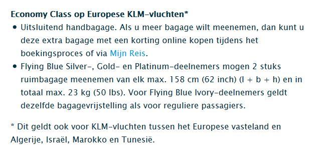 KLM bagagetoelage voor Flying Blue Elites verminderd