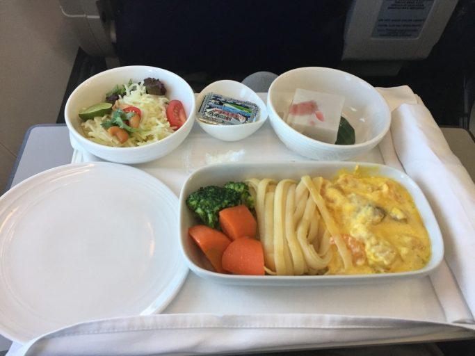 Heerlijke seafood pasta bij Malaysia Airlines