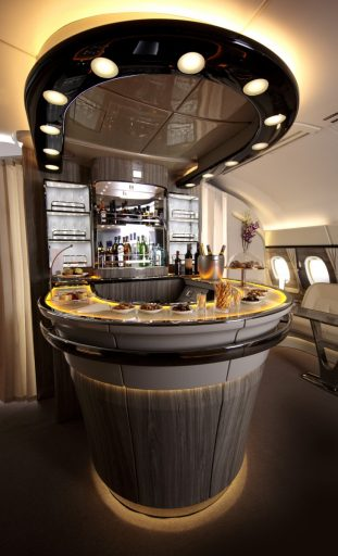 Emirates A380 onboard bar
