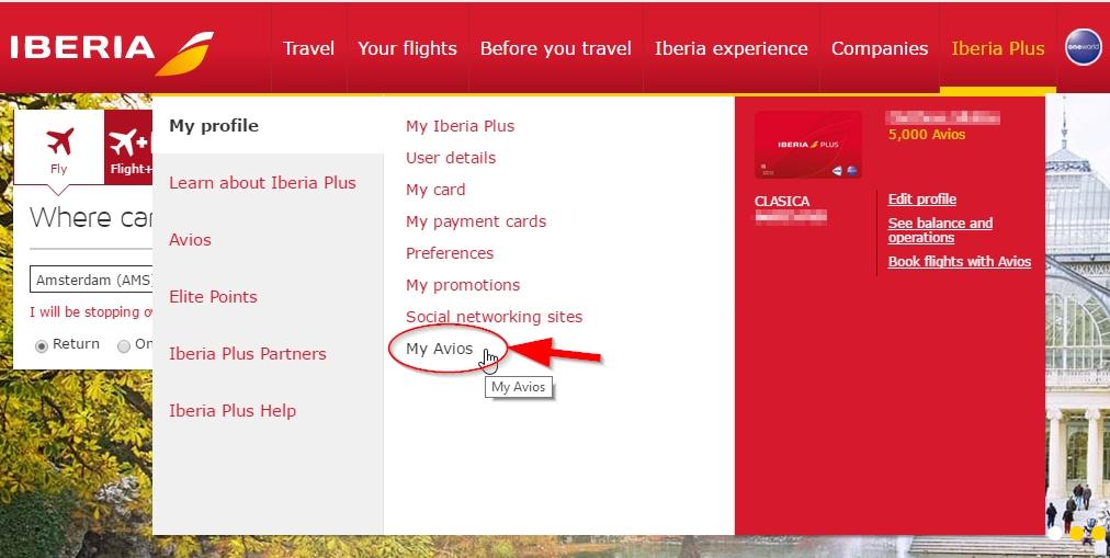 Avios overboeken van Iberia