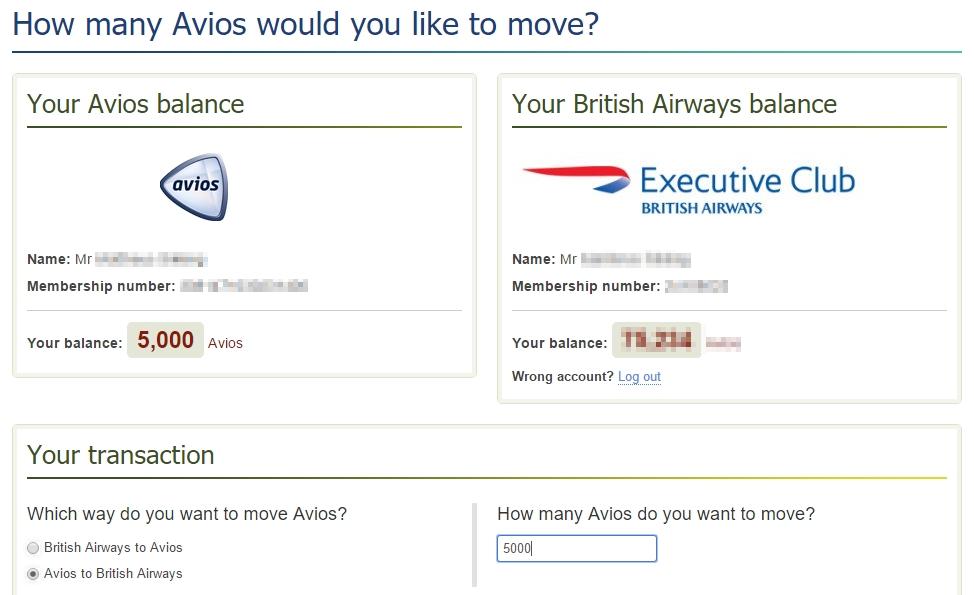 Avios overboeken