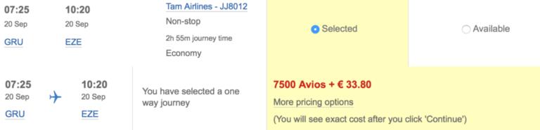 Een enkele reis Buenos Aires - Lima is beschikbaar voor 10 avios en 80 euro aan belasting.