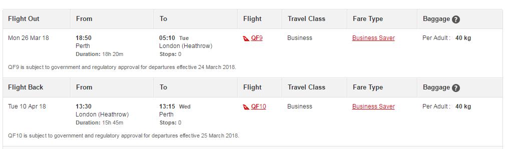Qantas LHR-PER Business Class