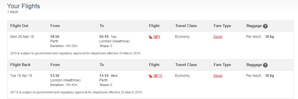 Qantas LHR-PER Economy Class