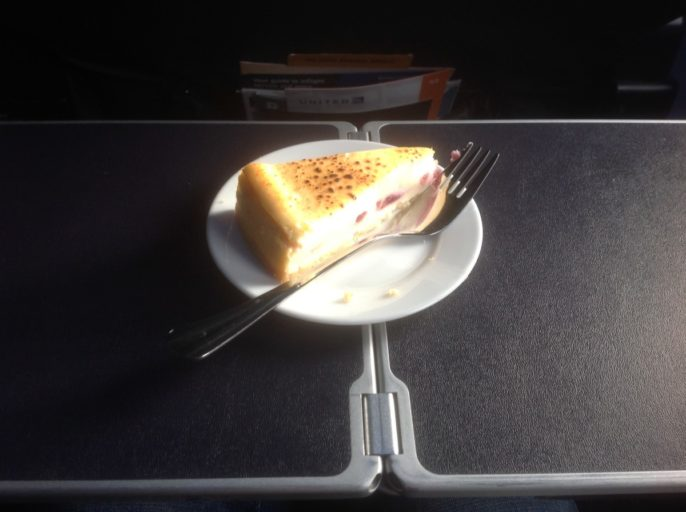 Dessert United Airlines Business Class, Cheescake United Airlines