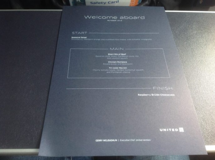 Menukaart United Airlines, Menu United Airlines Business Class